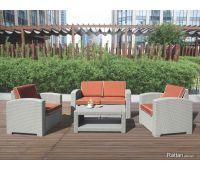 Уличный диваны и кресла Rattan Premium 4 Венге. Подушки оранжевые